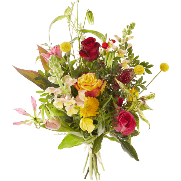 Valentine's day bouquet with beautiful red, yellow and pink flowers