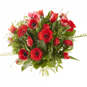 Valentine's day bouquet with red flowers