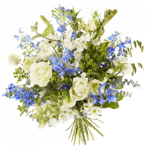 Sympathy bouquet Embrace with white and blue/purple flowers