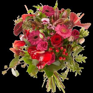 Winterboeket met rode en roze bloemen