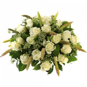Round funeral arrangement Stylish white