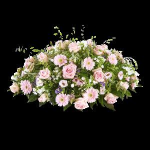 Rouwstuk ovaal met vooral roze bloemen