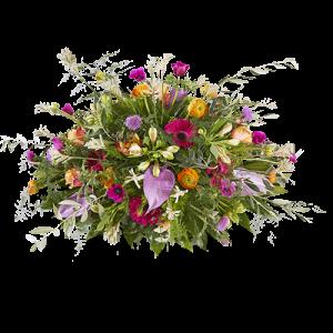 Rouwstuk Dierbaar, een ovaal stuk met verschillende kleuren bloemen