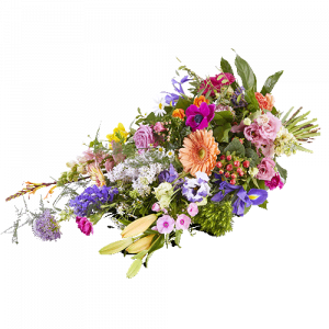 Funeral bouquet with flowers in beautiful bright colours