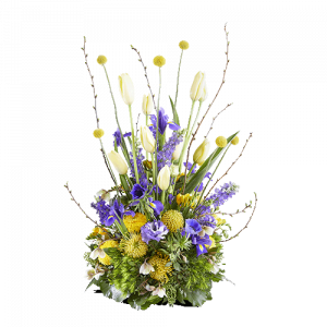 Round funeral arrangement with yellow and blue flowers