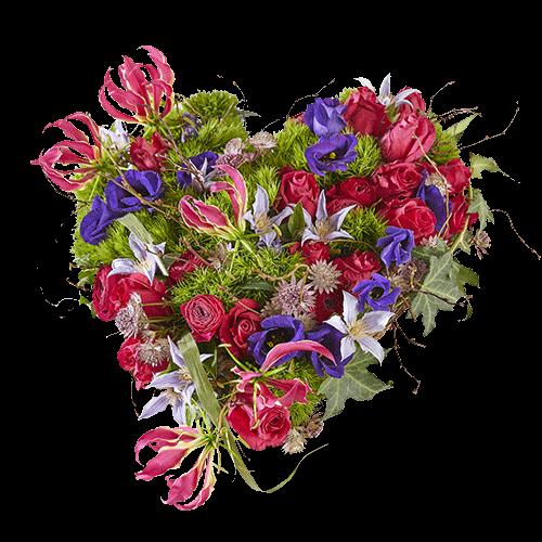Rouwhart Eeuwige natuur, met felle kleuren rood, roze, paars en lila.
