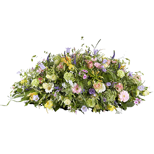 Rouwstuk herinnering met lichte kleuren bloemen
