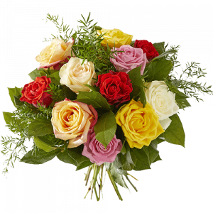 Bouquet with roses in several colours