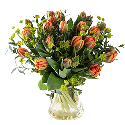 Bouquet with royal orange tulips