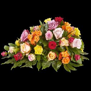 Rouwstuk Omarm me met gele, rode, oranje en roze bloemen