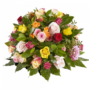 Round funeral arrangement 'Embrace me' with roses in different colours