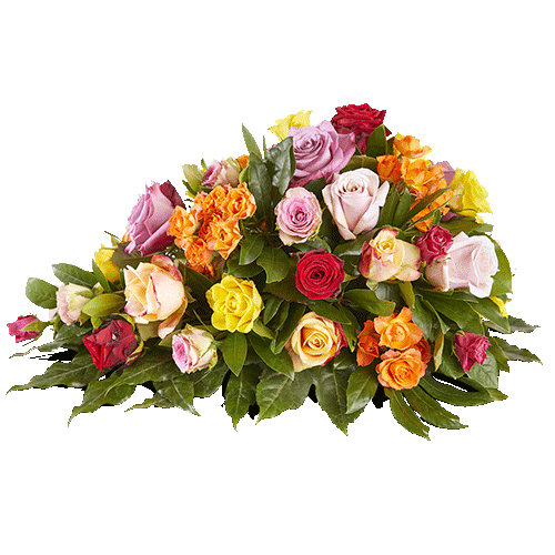 A very elegant funeral arrangement in the shape of a drop