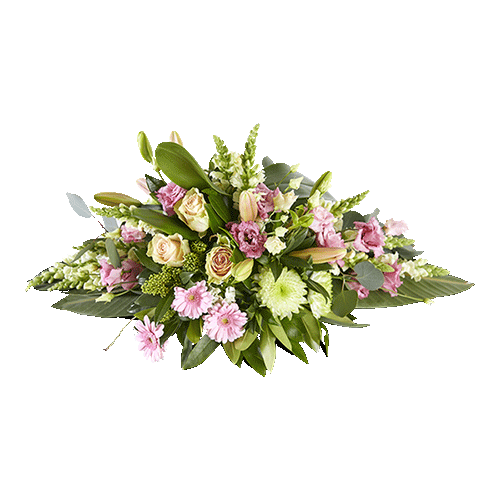 Funeral arrangement Everlasting with pink and pastel colours