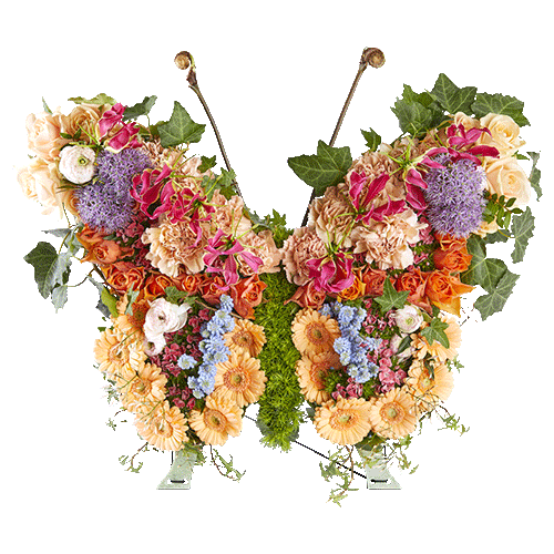 Funeral arrangement in the shape of a butterfly