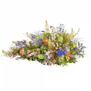 Funeral arrangement in the shape of a drop with beautiful flowers in blue, orange, white and light pink