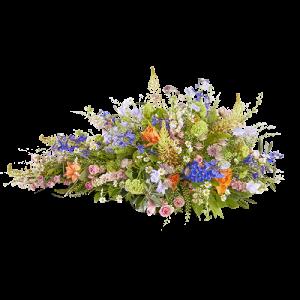 Rouwstuk in druppelvorm met verschillende frisse kleuren bloemen, zoals blauw, oranje, wit, lichtroze