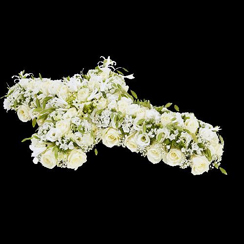 Funeral arrangement in the shape of a cross