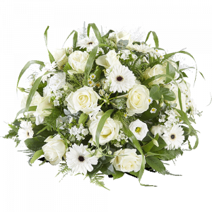 Round funeral arrangement farewell with white flowers