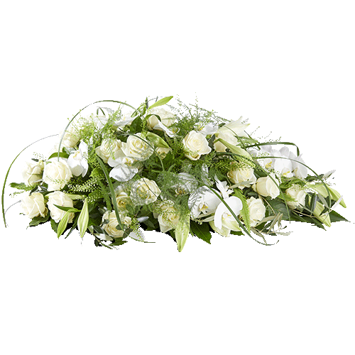 Rouwstuk in druppelvorm met witte bloemen