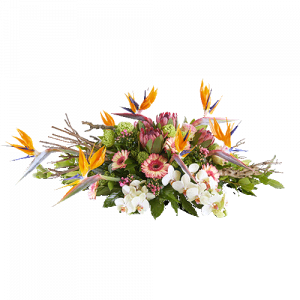Funeral arrangement 'Hidden present' with white, pink and orange flowers