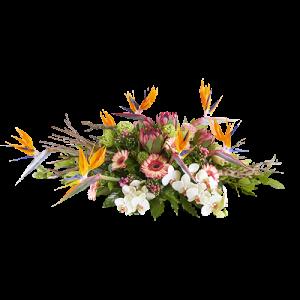 Gegroepeerd rouwstuk met witte, roze en oranje bloemen