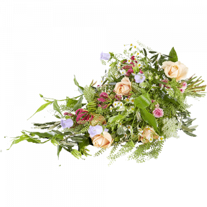 Funeral bouquet with flowers in light colours