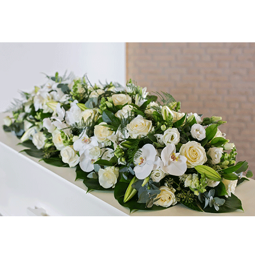 Coffin flowers with mixed  white flowers