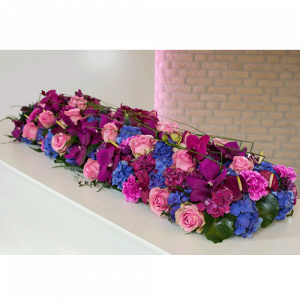Coffin flowers with purple and pink flowers
