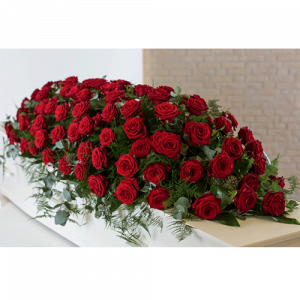 Coffin flowers - Red roses