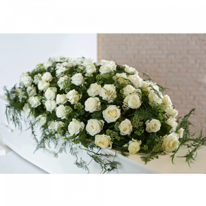 Coffin flowers white roses