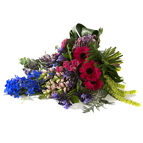 Funeral bouquet with blue, yellow and pink flowers