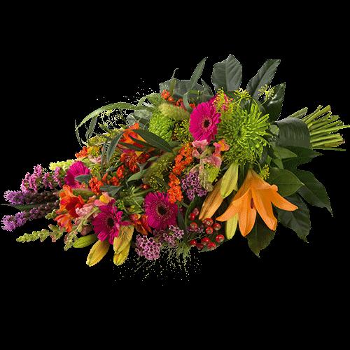 Kleurrijk rouwboeket