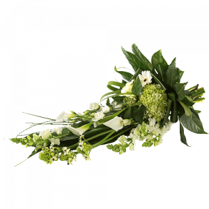 Flat funeral bouquet with white flowers