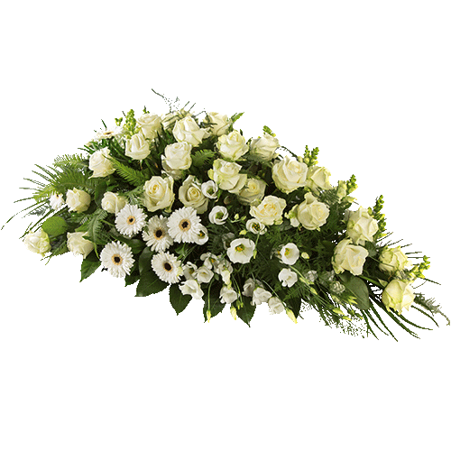 Funeral arrangement triangle with white flowers