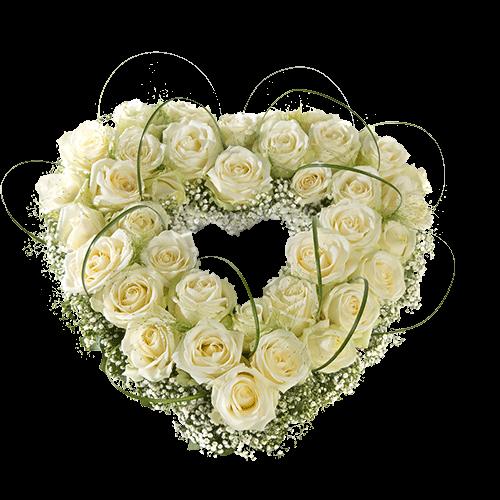 Rouwstuk rozenhart met witte rozen.