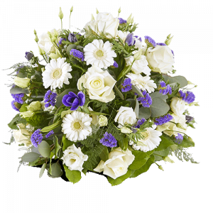 Funeral arrangement goodbye with white and purple flowers