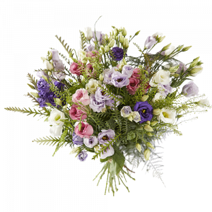 Pretty bouquet with eustoma in several colours