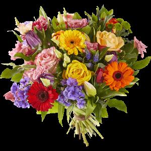 Bonte lente is een lenteboeket met vrolijke felgekleurde bloemen