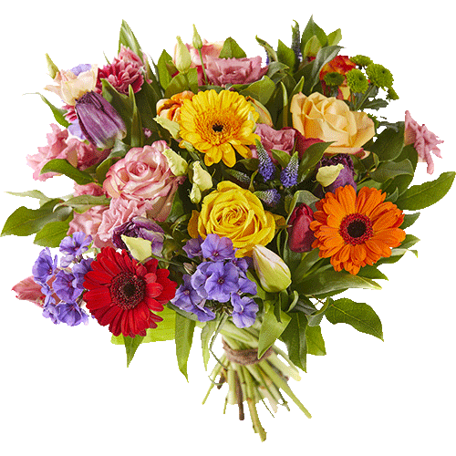 Spring bouquet with bright coloured flowers