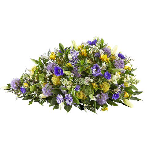 funeral arrangement eternal light with yellow and purple flowers