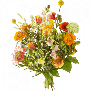 Easter bouquet with yellow and orange flowers