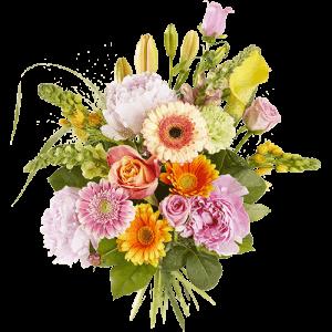 Mooi fleurig pioenenboeket