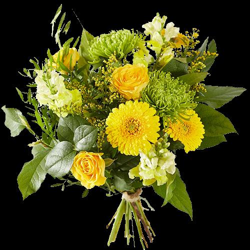 Gemengd boeket van gele bloemen