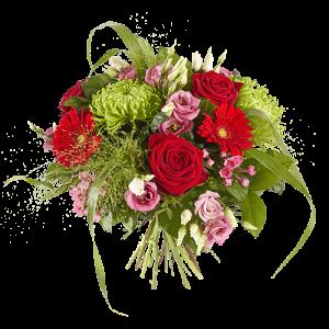 Felicitatieboeket gefeliciteerd met rozen, gerbera's, chrysanten en eustoma