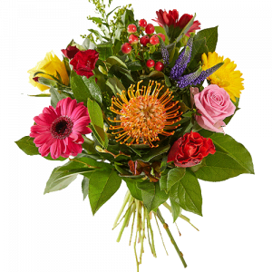 Cheerful bouquet with mixed flowers in bright colours