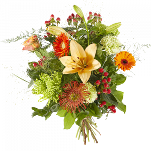 Mixed bouquet with several orange flowers