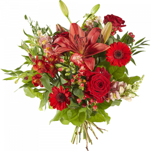 Bouquet with several mixed red flowers