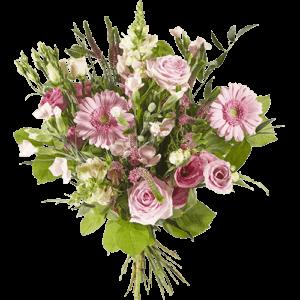 Gemengd boeket met verschillende roze bloemen