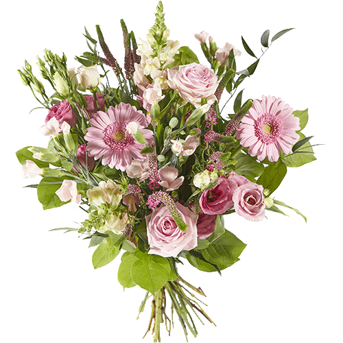 Pink bouquet with several different pink flowers