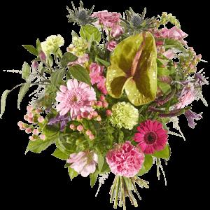 Een goed gevoel boeket met o.a. gerbera, roos, anthurium